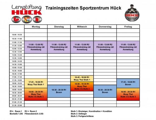 Aktuelle Traningszeiten des Sportzentrum Hücks