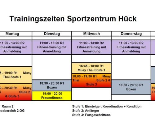 Aktuelle Trainingszeiten Sportzentrum Hück