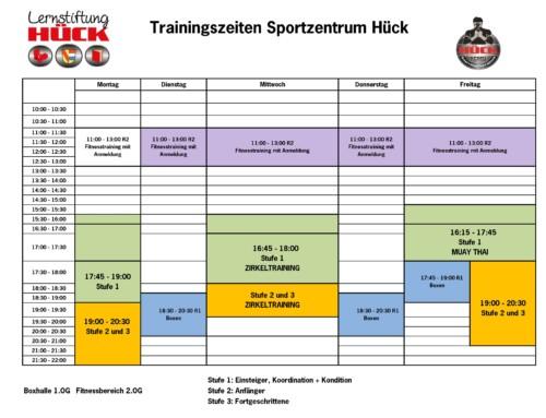 Aktueller Trainingsplan des Sportzentrum Hück